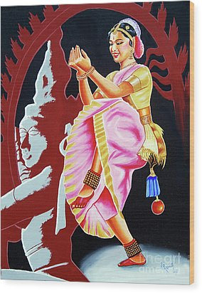 The Divine Dance Of Bharatanatyam Wood Print by Ragunath Venkatraman