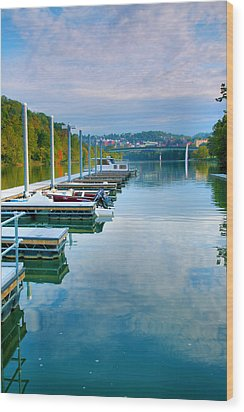 The Docks At Morgantown Wood Print by Steven Ainsworth
