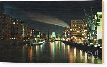 The Docks Of Hamburg By Night Wood Print by Rob Hawkins