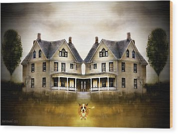 Wood Print featuring the digital art The Dog House by Kari Nanstad