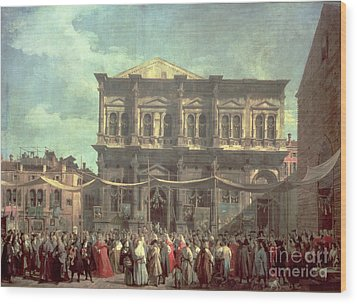 The Doge Visiting The Church And Scuola Di San Rocco Wood Print by Canaletto