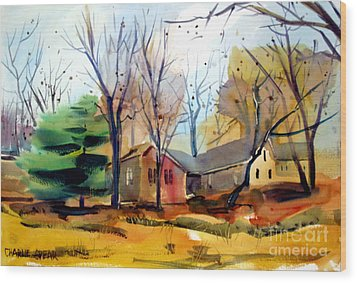 Wood Print featuring the painting The Dogwood Tree Ready To Hang by Charlie Spear