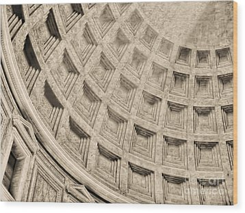 Wood Print featuring the photograph The Dome Of The Pantheon by Nigel Fletcher-Jones