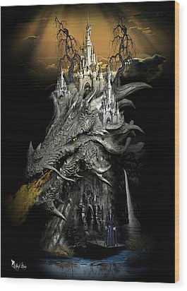 The Dragons Castle Wood Print by Ali Oppy