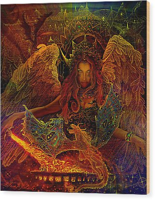 Wood Print featuring the painting The Dragons Spell by Steve Roberts