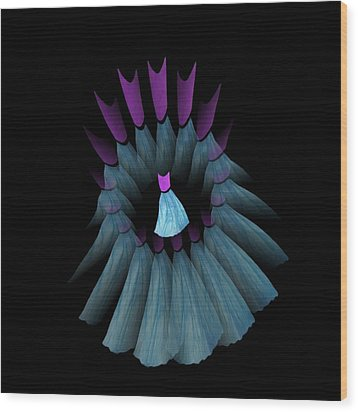 The Dream Circle Of Wise Women - Turquoise And Purple Wood Print by Jacqueline Migell