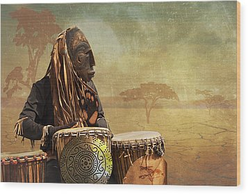 The Dream Of His Drums Wood Print