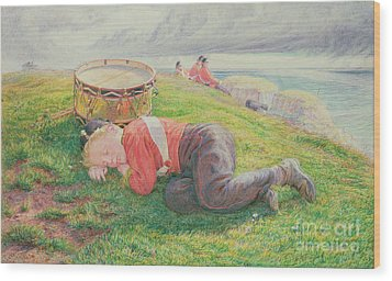 The Drummer Boy's Dream Wood Print by Frederic James Shields