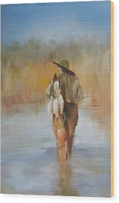 The Duck Hunter Wood Print by Debbie Anderson