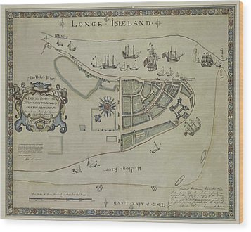 Wood Print featuring the photograph The Dukes Plan A Description Of The Town Of Mannados Or New Amsterdam 1664 by Duncan Pearson