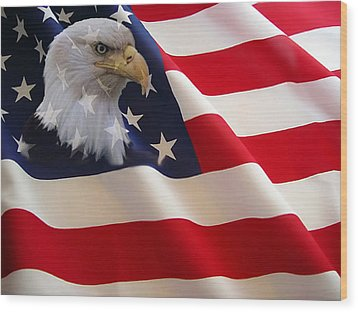 The Eagle Flag Wood Print by Evelyn Patrick