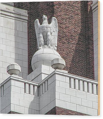 Wood Print featuring the photograph The Eagle On The United States Custom House Philadelphia Pennsyl by Bill Cannon