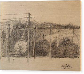 The Edge Of The Village Wood Print by Raimonda Jatkeviciute-Kasparaviciene