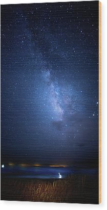 Wood Print featuring the photograph The Egret And The Milky Way by Mark Andrew Thomas