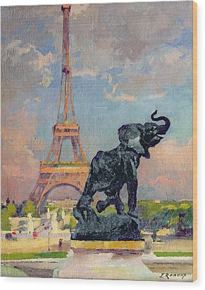 The Eiffel Tower And The Elephant By Fremiet Wood Print by Jules Ernest Renoux