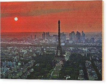 The Eiffel Tower Wood Print by PixBreak Art