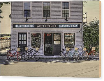 Wood Print featuring the photograph The Electric Bike Shop Bristol Ri by Tom Prendergast