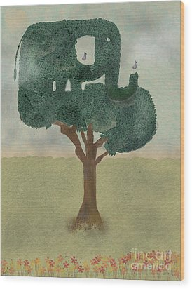 Wood Print featuring the painting The Elephant Tree by Bri B