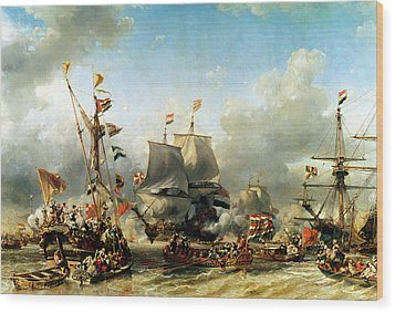 The Embarkation Of Ruyter And William De Witt In 1667 Wood Print by Louis Eugene Gabriel Isabey