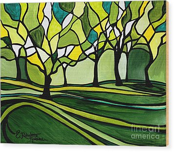 The Emerald Glass Forest Wood Print by Elizabeth Robinette Tyndall