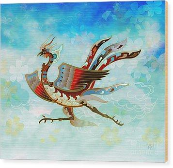 The Empress - Flight Of Phoenix - Blue Version Wood Print by Bedros Awak