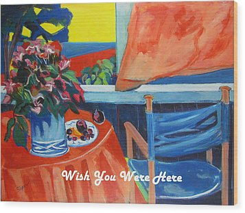 The Empty Blue Canvas Chair Wood Print