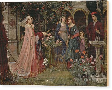 The Enchanted Garden Wood Print by John William Waterhouse