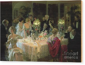 The End Of Dinner Wood Print by Jules Alexandre Grun