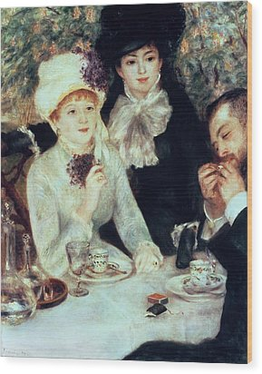 The End Of Luncheon Wood Print by Pierre Auguste Renoir