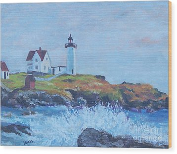 The End Of Summer- Cape Neddick Maine Wood Print by Alicia Drakiotes