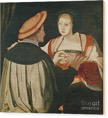 The Engagement Wood Print by Lucas van Leyden