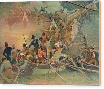 The English Navy Conquering A French Ship Near The Cape Camaro Wood Print by English School