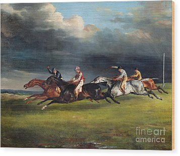 The Epsom Derby Wood Print by Theodore Gericault