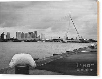Wood Print featuring the photograph The Erasmus Bridge In Rotterdam Bw by RicardMN Photography
