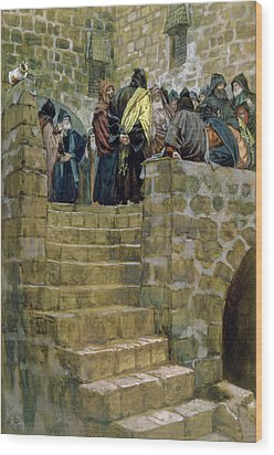 The Evil Counsel Of Caiaphas Wood Print by Tissot