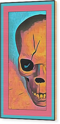 Wood Print featuring the digital art The Eye Of Death Abstract Skull by Floyd Snyder