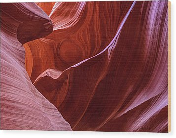 Wood Print featuring the photograph The Eye Of Lower Antelope Canyon by Pierre Leclerc Photography