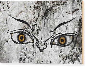 The Eyes Of Guru Rimpoche  Wood Print