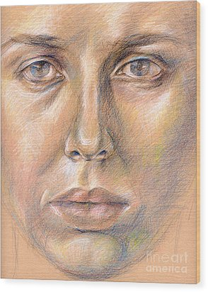 The Face In The Miror Wood Print by Iglika Milcheva-Godfrey