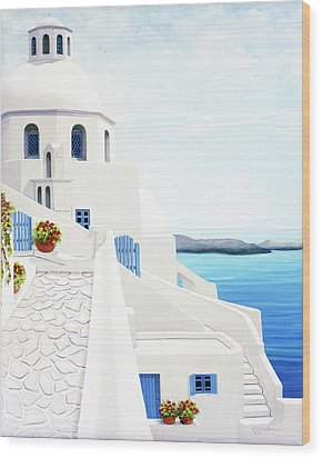 The Face Of Santorini Wood Print