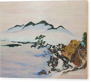 The Fading Spirit Of Chikanobu Awakened By Shintoism Wood Print by Sawako Utsumi