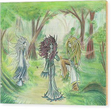 Wood Print featuring the painting The Fae - Sylvan Creatures Of The Forest by Shawn Dall