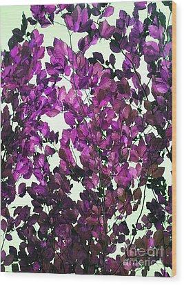 The Fall - Intense Fuchsia Wood Print by Rebecca Harman