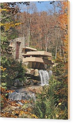 The Fallingwater Wood Print by Edwin Verin