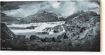 The Falls In Black And White Wood Print by Andrew Matwijec