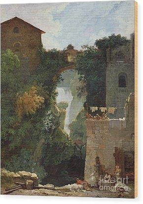 The Falls Of Tivoli Wood Print by Jean Honore Fragonard