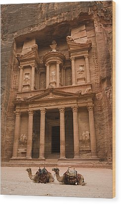 The Famous Treasury With Two Camels Wood Print by Taylor S. Kennedy