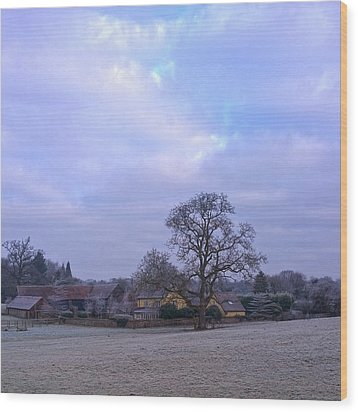 The Farm In Winter Wood Print by Anne Kotan