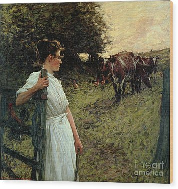 The Farmer's Daughter Wood Print by Henry Herbert La Thangue