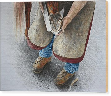 The Farrier Wood Print by Kathy Roberts